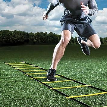 GHB - Escalera de agilidad de 6 m para entrenamiento de fútbol, ejercicios de velocidad, fitness, 12 travesaños, con funda portátil regulable, color amarillo: Amazon.es: Deportes y aire libre
