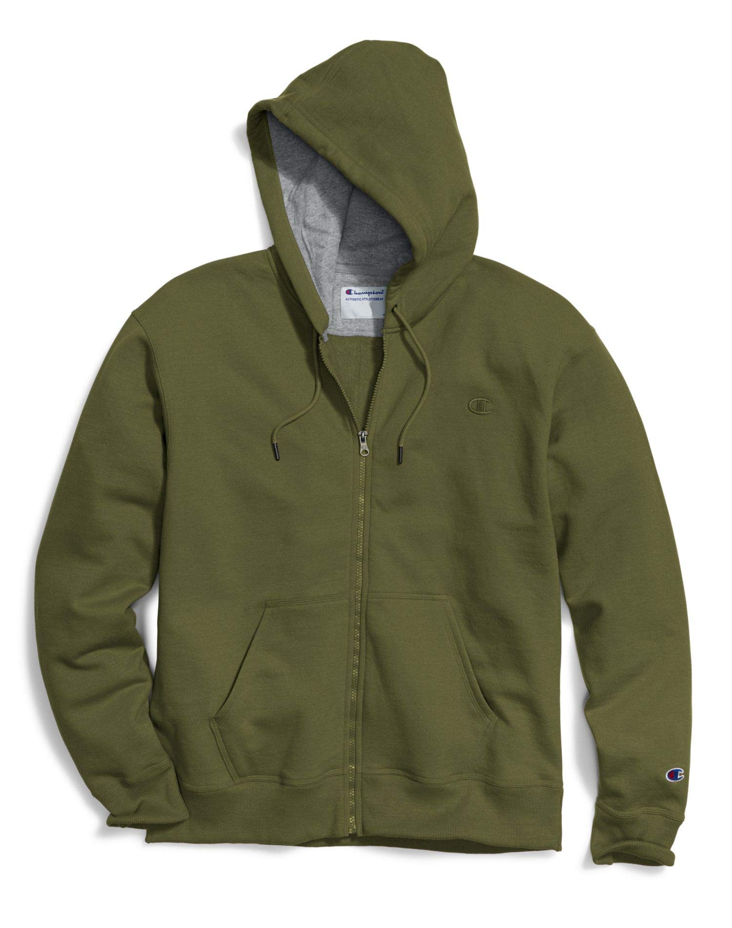Champion Mens Powerblend Fleece Full Zip Jacket (S0891 407D55) -Cargo Oliv -2XL by Champion