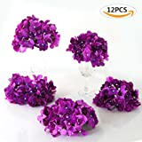 Veryhome Blooming Silk Hydrangea Flower Heads for DIY Bouquets Wedding Centerpieces Home Decor 12pcs purple