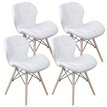 Sedie Bianche E Acciaio.Nicemoods Sedie Da Pranzo Moderne Robusto Telaio In Acciaio