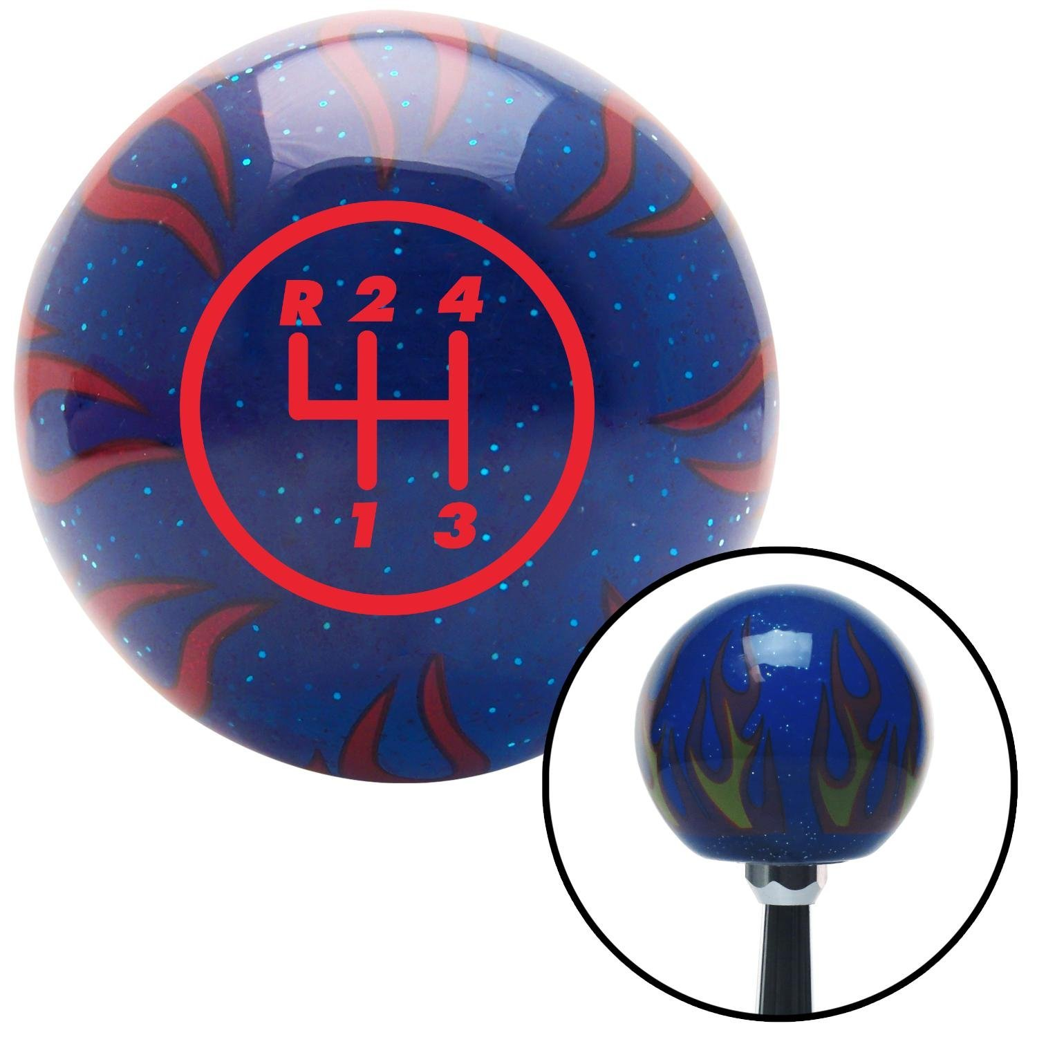 Red 4 Speed Shift Pattern - 4RUL American Shifter 244080 Blue Flame Metal Flake Shift Knob with M16 x 1.5 Insert