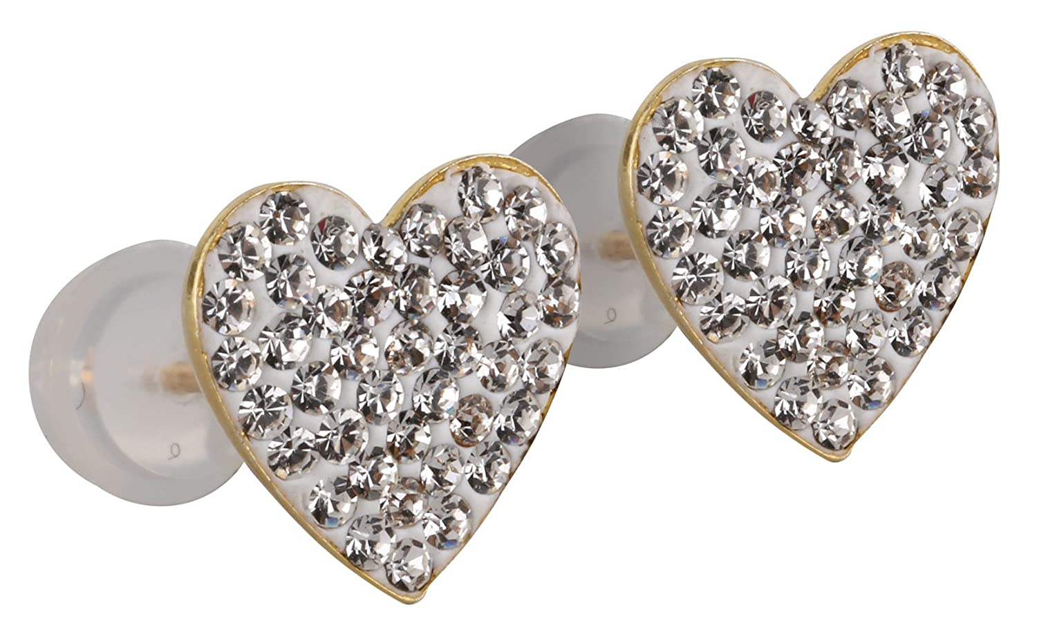 14k Yellow Gold and Copper Heart Shape Stud Earrings with Swarovski Elements Crystals Choice of Colors