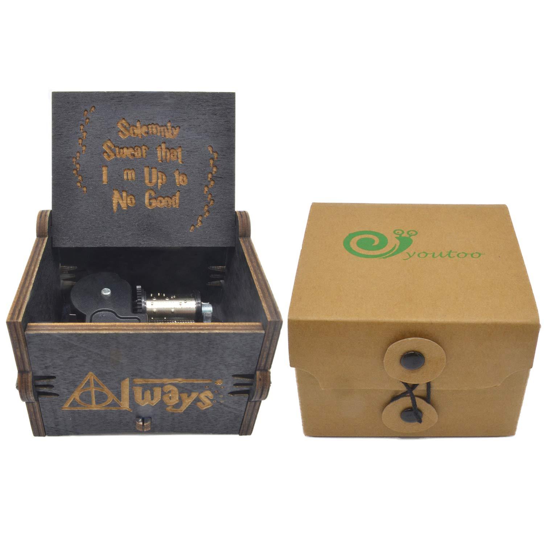 youtoo Retro Madera Parte reloj mano clásico Manivela Caja de música para regalos Talla:Harry