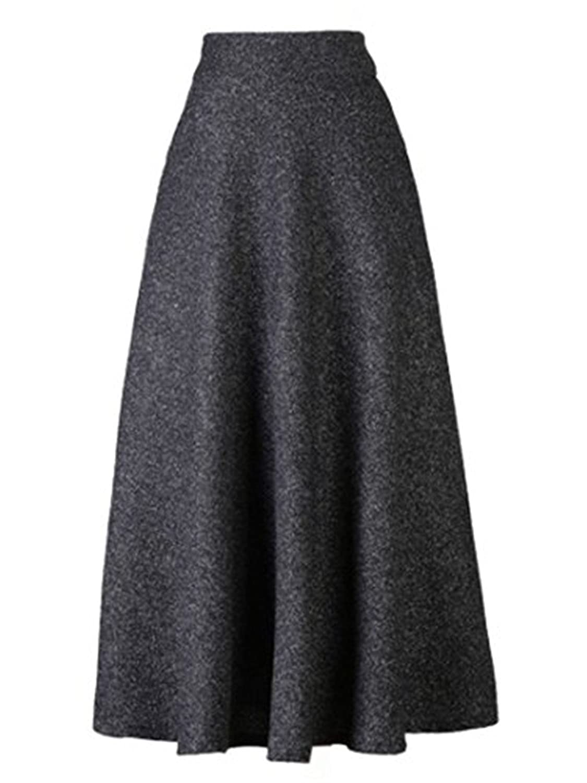 Tailloday Damen Vintage Hohe Taille A-line Flared Lange Herbst Thicken Winterrock Wollrock Rock