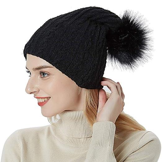 2fcf6ba007e170 OMECHY Womens Winter Knitting Beanie Hat Wool Slouchy Baggy Hats Ski Skull  Cap Stretchy Scarf Black