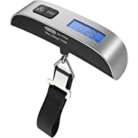 Dr.meter Luggage Scale Portable Digital Travel Suitcase Scales with Temperature Sensor, Tare Function, ES-PS02 110lb/50kg Electronic Balance Digital Luggage Hanging Scale,Battery Included