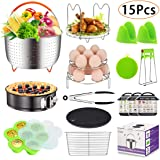 15 Pieces Accessories Set Compatible with 6,8 Qt InstaPot, Ninja Foodi (8qt), with Steamer Basket for Instant Pot Accessories Set, Springform Pan, Stackable Egg Rack, Egg Bites Mold and More