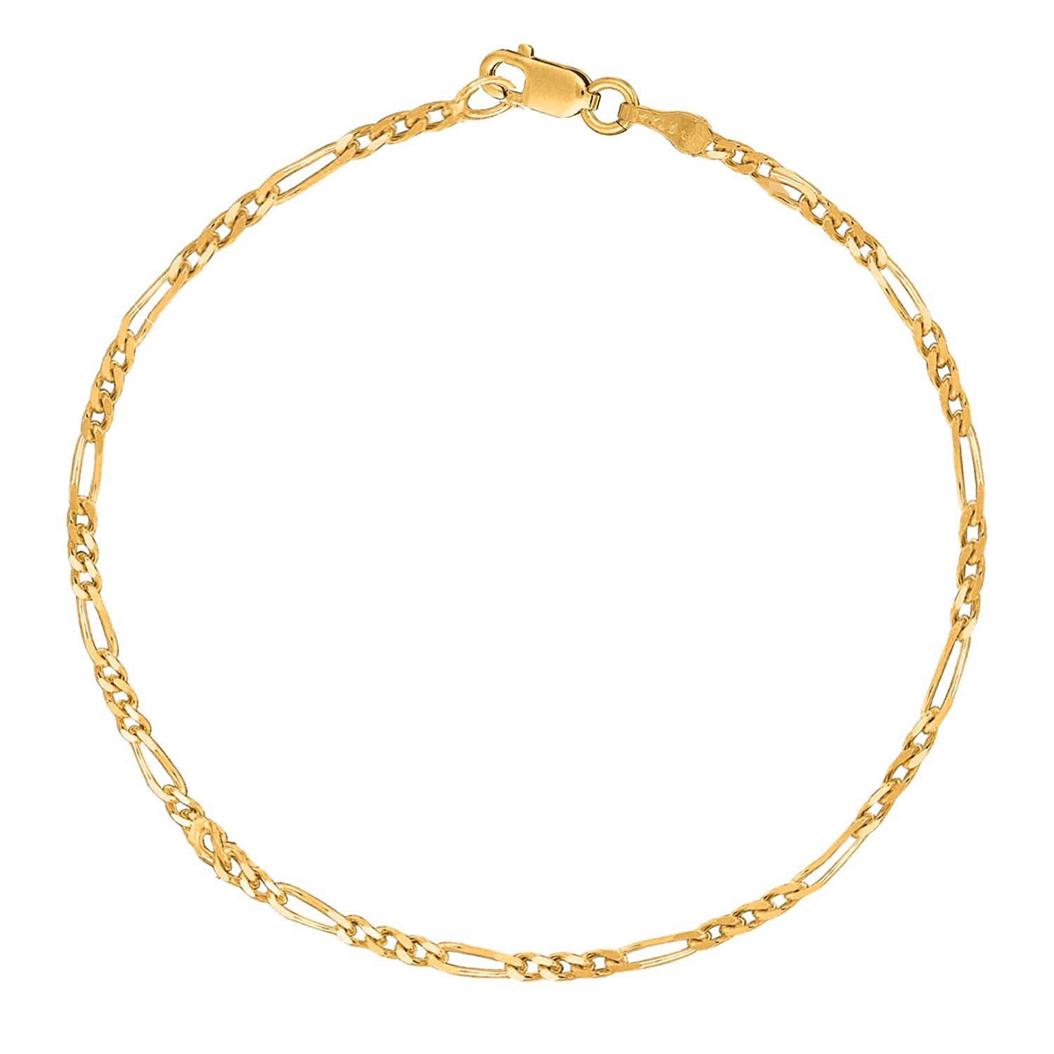 Sterling Silver or Gold Tone Italian Figaro Anklet Ankle Bracelet 2.1 Mm 10 Inches Ritastephens