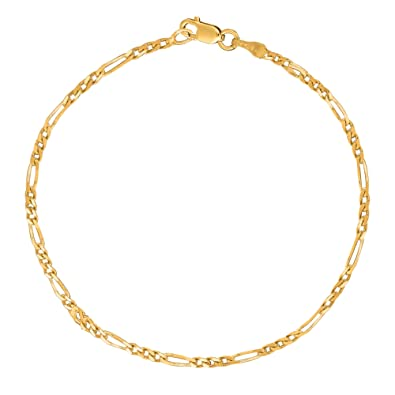 bc0f035bffb8 Amazon.com  14k Yellow Gold Figaro Chain Anklet Ankle Bracelet 10 ...