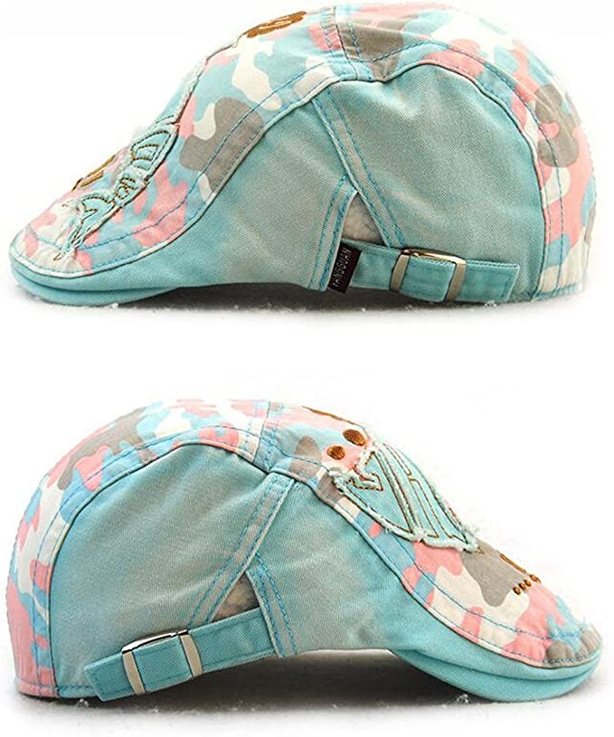 Roffatide Embroidery Newsboy Cap Plaid Patch Sun Hat Girls Boys Ivy Irish Gatsby Cabbie Hat Kids Children