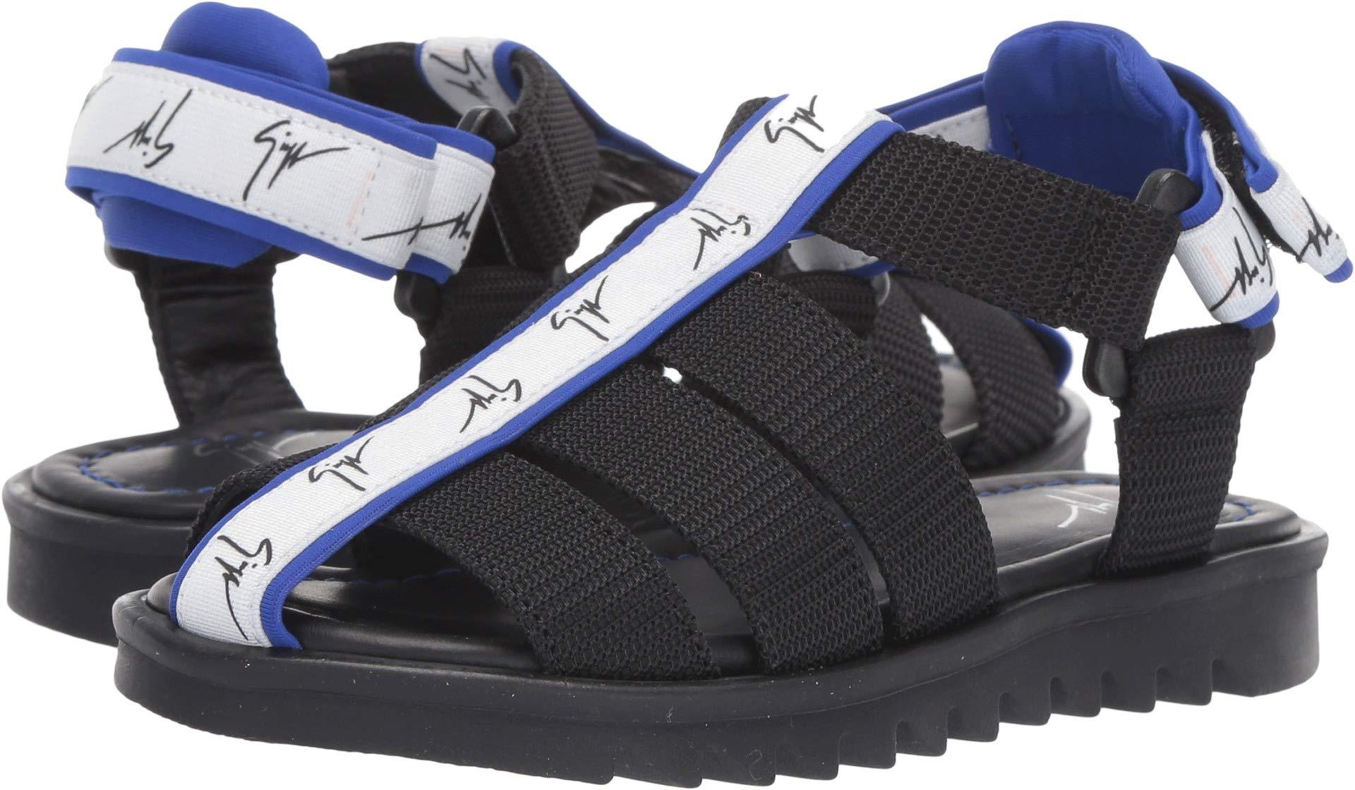 Giuseppe Zanotti Kids Unisex Bond Gomma Strap Sandals (Toddler/Little Kid) Black/Blue 33 M EU