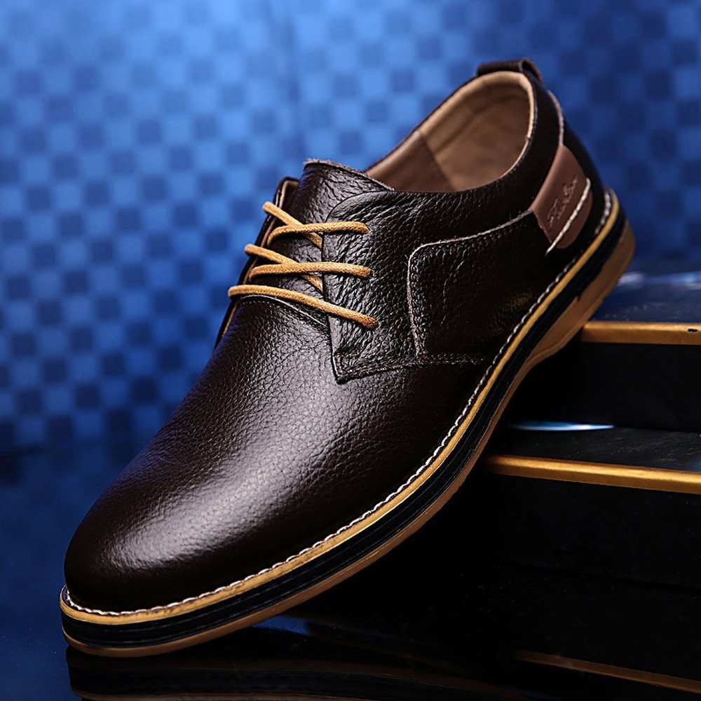 YZHYXS Dress Shoes for Men Brown Oxford Shoes Mens Cow Leather Business Casual Shoes Size 9.5 (6111brown44) by YZHYXS (Image #6)