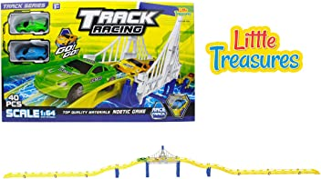 Track racing race tracks over a magnificent city bridge includes 2 stylish super fast pull back