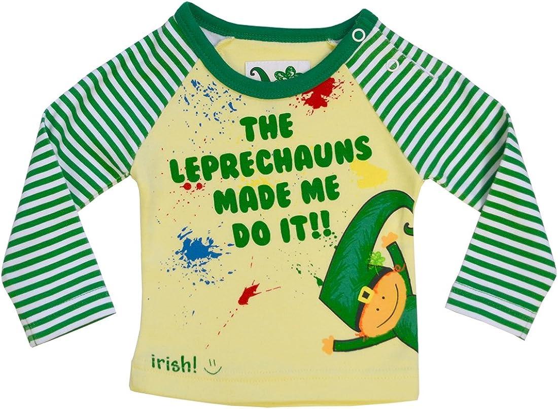 Traditional Craft Ltd Green Stripe Leprechaun Made Me Do It Kids T-Shirt