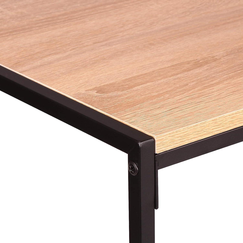 40 45cm MDF Plateau//Cadre en Acier Bois Clair E-starain Table Basse Industriel 80