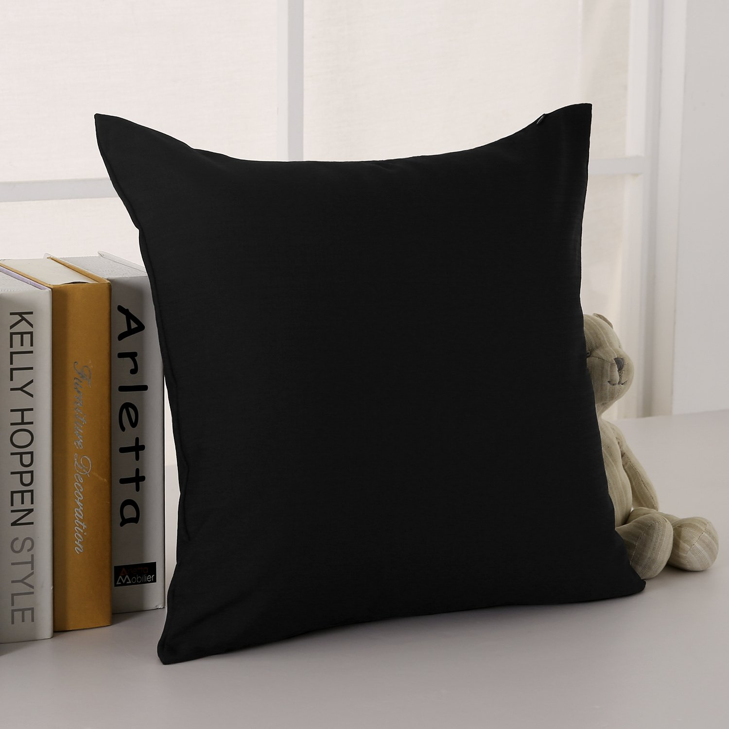 CASE ONLY, NO Insert SYNCHKG070501 Deconovo Faux Linen Cushion Cover with Invisible Zipper Throw Pillow Cover for Sofa Cushion 18x18 Inch Black 1 PCS