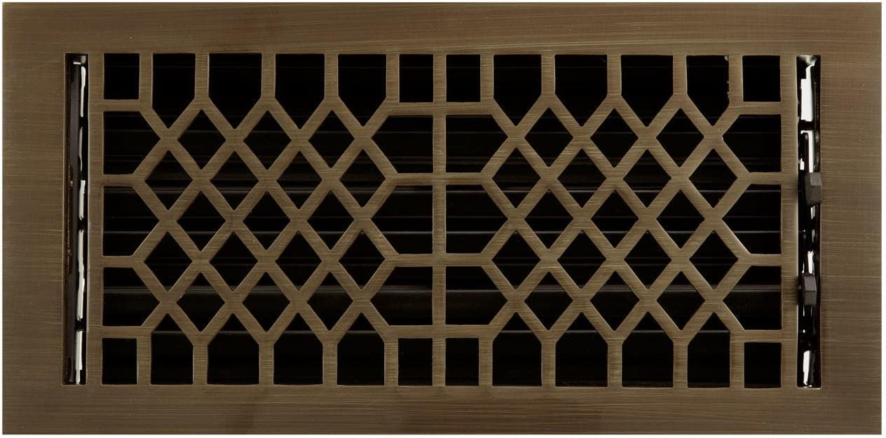 Naiture 6 X 10 Solid Brass Wall Register Antique Style Antique Brass Finish