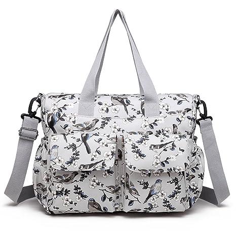 Miss Lulu - Bolso cambiador / bolso de pañales para bebé, estampado de flores y