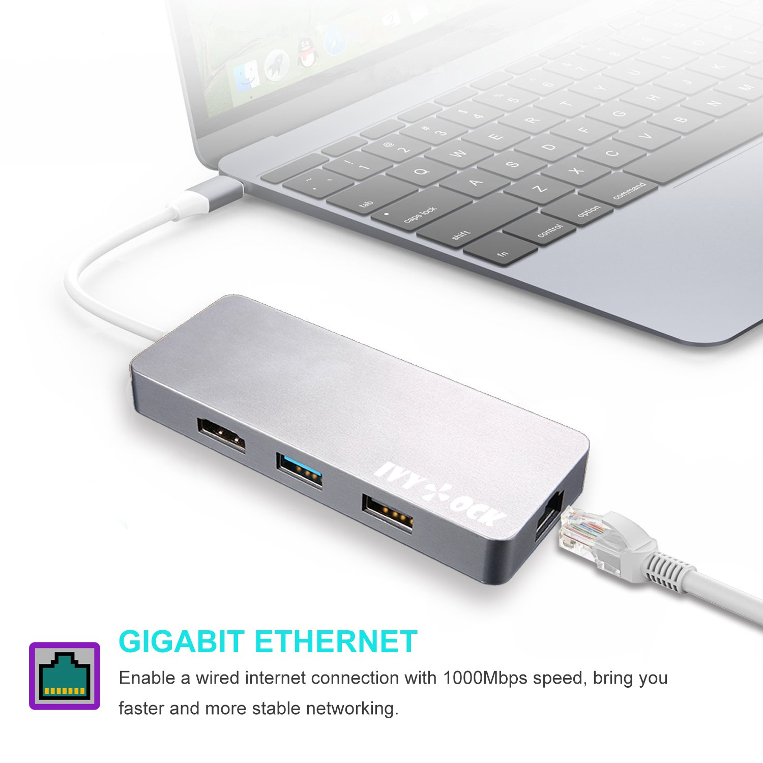 USB C Hub, IVYOCK Type C Hub Dongle with HDMI, Gigabit Ethernet, Type-C Charging Port, USB 3.0/2.0 Ports, SD/Micro SD Card Reader, USB-C Adapter for MacBook Pro/Pixelbook/Dell XPS/Yoga and More by IVYOCK (Image #4)