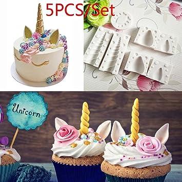 5 moldes de silicona 3D de unicornio para repostería de bebé, para decoración de tartas
