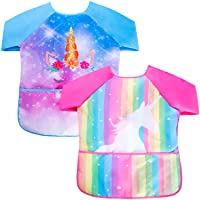 Fiodrimy 2PCS Kids Smock Apron, Waterproof Aprons for Kids with 3 Center Pockets Long Sleeve Art Aprons for Painting Baking Gardening 2-7 Years (Rainbow Unicorn)