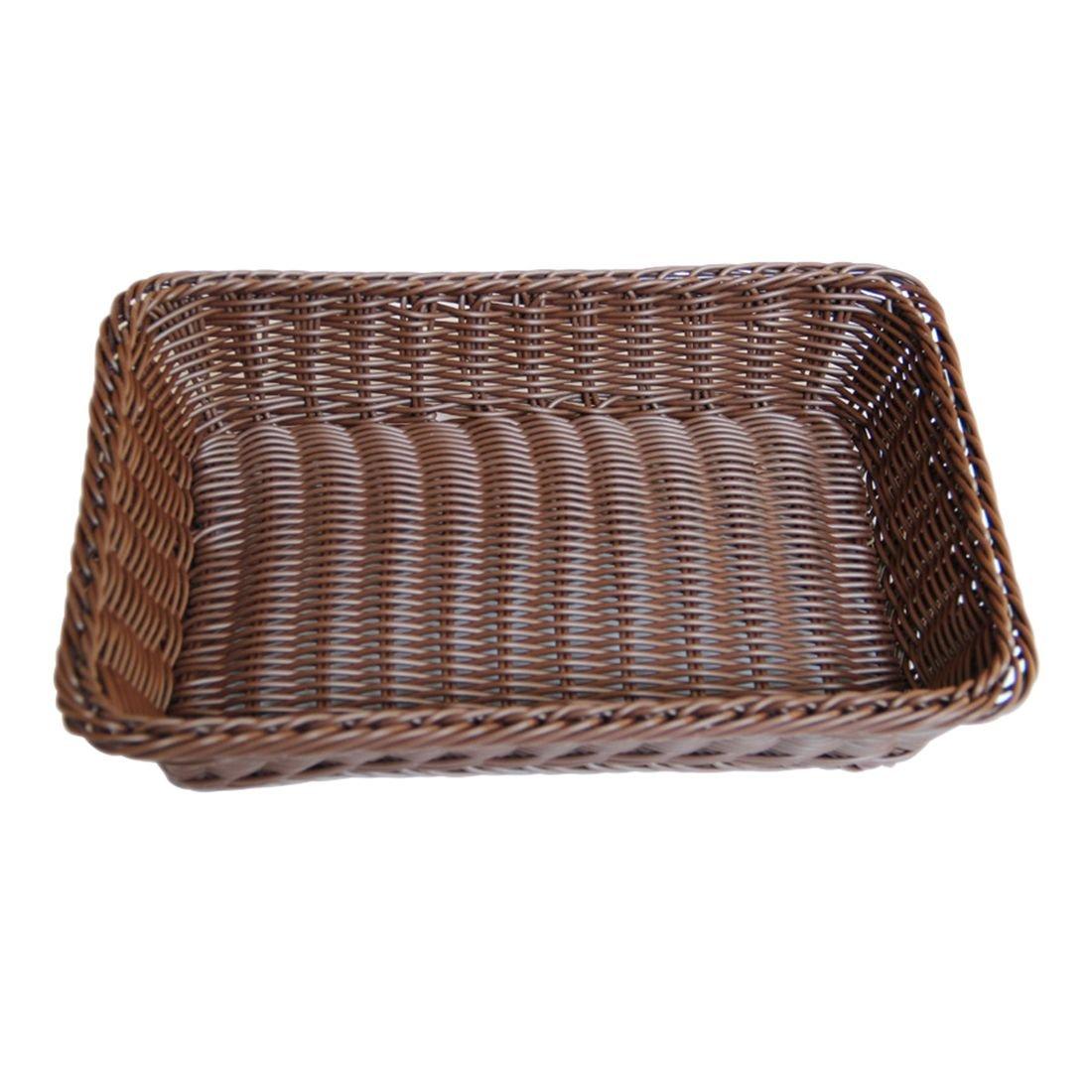SODIAL Dark Brown Simple Fashion Hand-Woven Storage Basket Rattan Food Fruit Basket Imitation Rattan Bread Basket 30x20x7cm