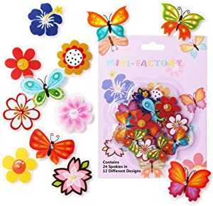 MINI-FACTORY Bike Wheel Spokes Decoration Stickers for Kids Girls - Colorful Cute Bicycle Bead Attachments - 24Pcs - 12 Different Designs