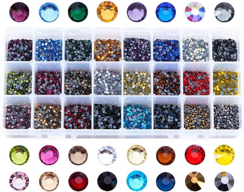 PandaHall Elite 1 caja 24 colores mezclados parte trasera plana y facetado Hotfix Rhinestone adorno, mitad redonda imitación Taiwan acrílico diamantes de imitación; alrededor de 8400 ~ 9600 pcs/caja