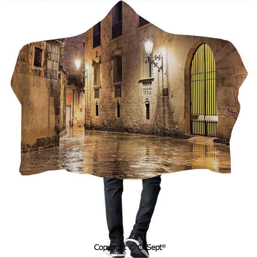 AmaUncle Hooded Blankets,Gothic Ancient Stone Quarter of Barcelona Spain Renaissance Heritage Gothic Night Street Photo,Unisex All Ages One Size Fits All(59.05x78.74 inch),Cream