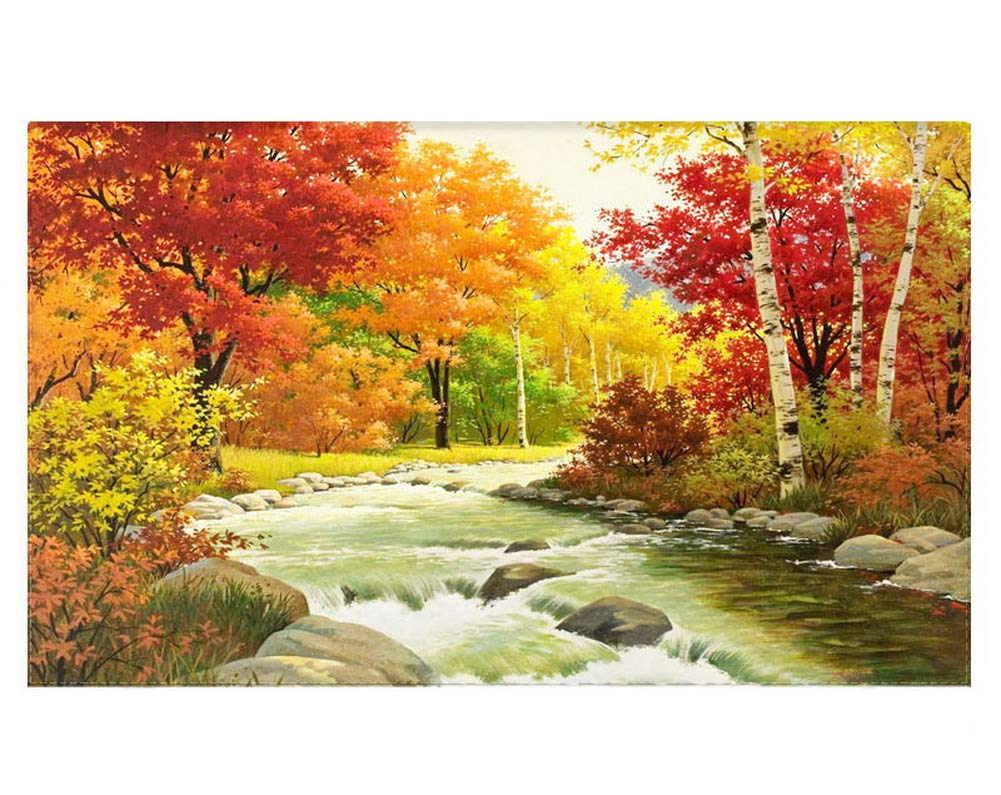 Gentle Meow Home Creative 50-Inch TV Cloth Decorative Dustproof Cover, Autumn Trees