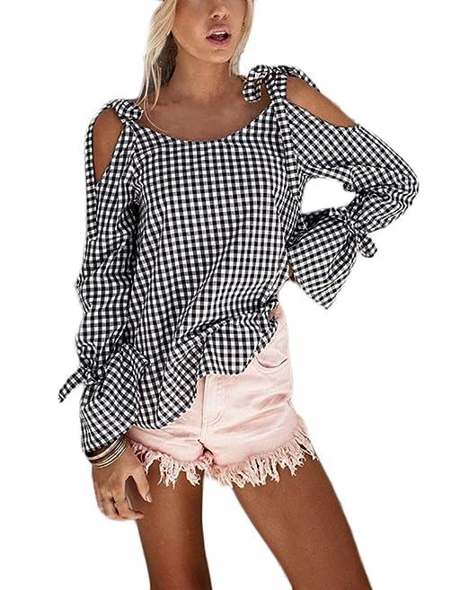 Mujer Blusas Manga Larga Otoño Primavera Sin Tirantes A Cuadros Blusones Con Lazo Blanco Negro Camisas