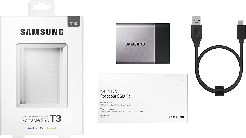 Samsung T3 - Disco SSD portatíl (Capacidad 1 TB, USB 3.1, 3.0 y ...