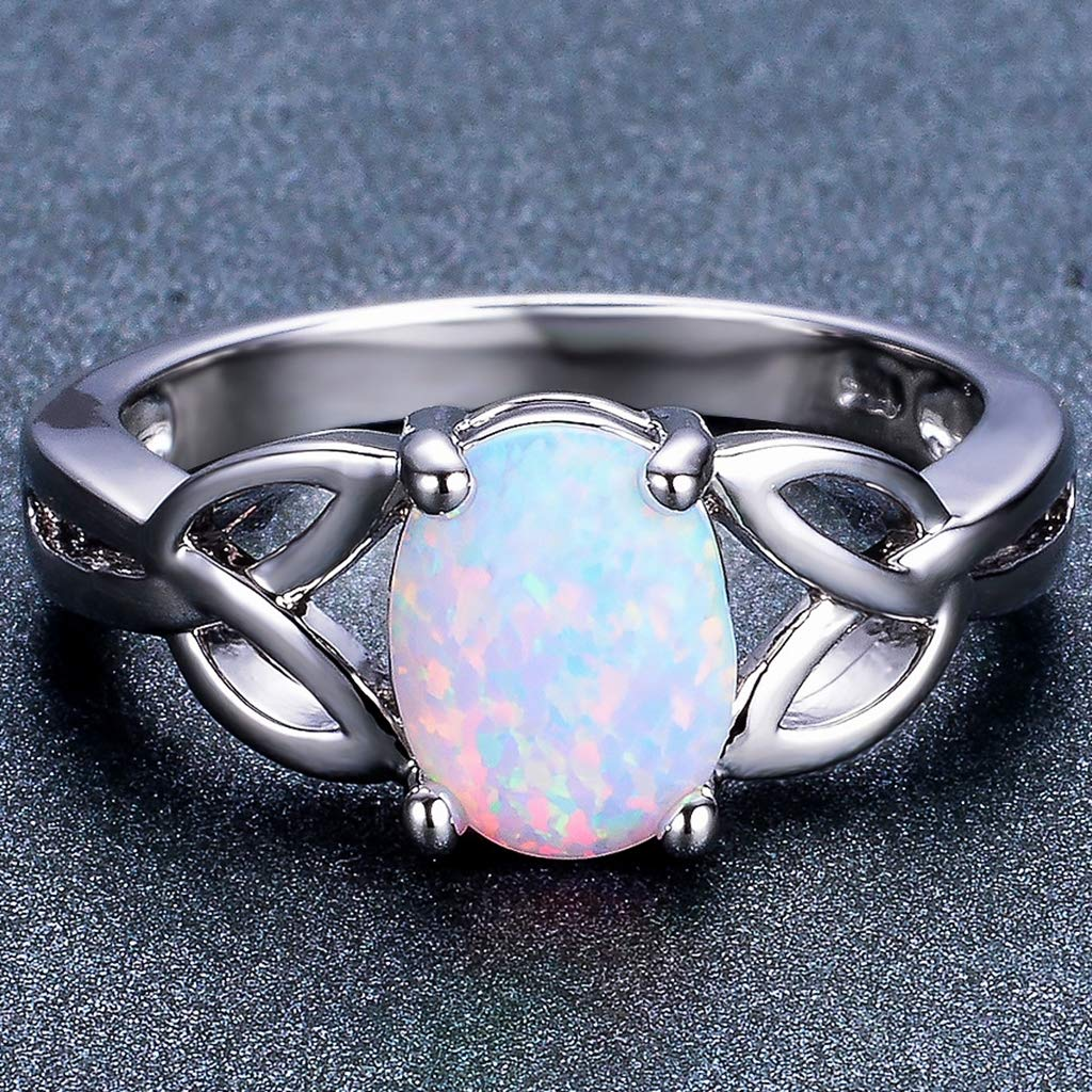 SDT Jewelry Oval Shape Created Opal Knotted Statement Promise Anniversary Propose Ring