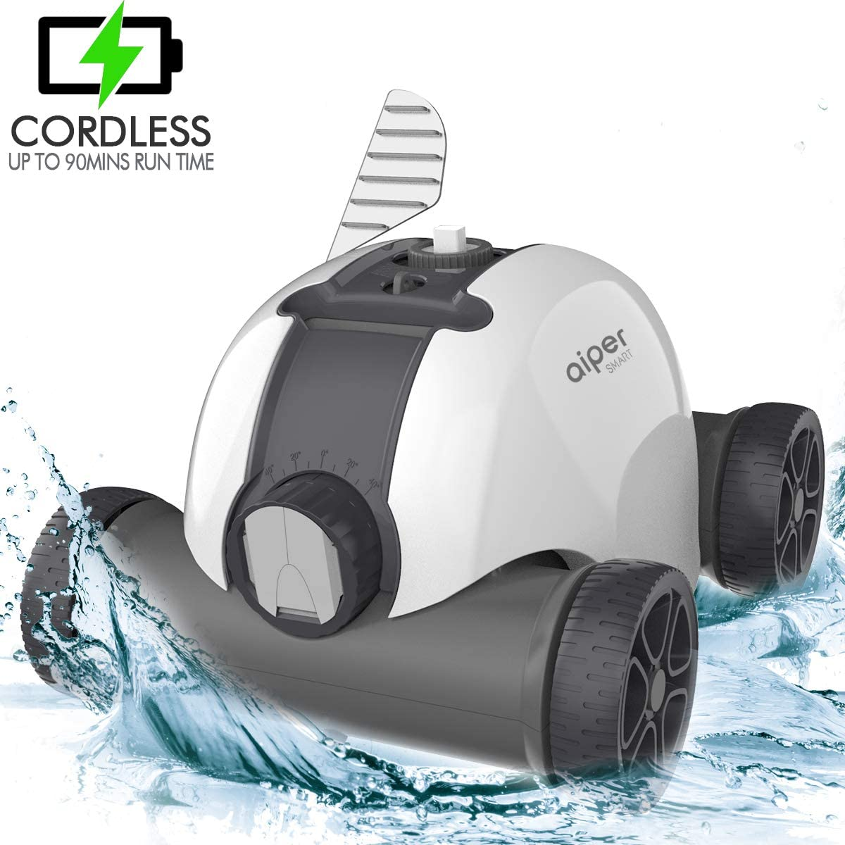 AIPER Cordless Automatic Pool Cleaner, Rechargeable Robotic Pool Cleaner with Up to 90 Mins Run Time, IPX8 Waterproof, Ideal for In-ground/Above Ground Swimming Pools with Flat Floor Up to 861sq/ft