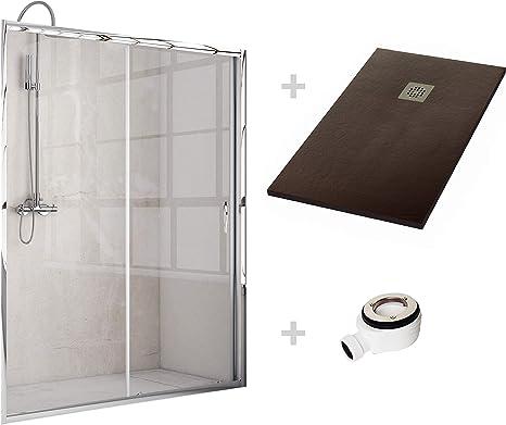 Crocket Kit Mampara de Ducha Frontal + Plato de Ducha de Resina Stone + Puerta Corredera Cristal Transparente - Incluye Sifón y Rejilla- Chocolate RAL 8017-70 x 160 (Adaptable 150 a 159 cm): Amazon.es: Hogar