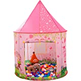 Kids Tent, Anyshock Pop Up Baby Toys Play Tent House Princess Castle Dollhouse Outdoor and Indoor for 1-8 Years Old Kids Boy Girls Toddler Infant (No LED Light,Princess Pink)