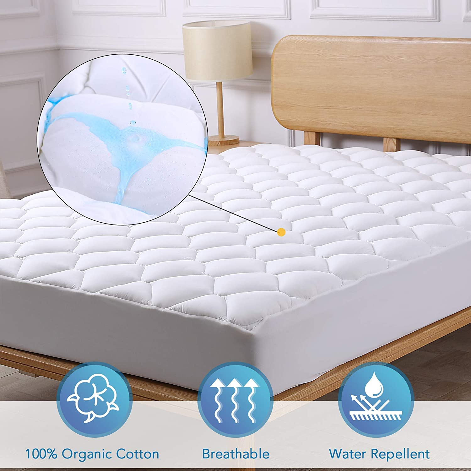 CO-Z Mattress Pad Cover Cotton Twin Size - Bedding Quilted Ultra Soft Overfilled PillowTop Mattress Topper with Deep Pocket Stretch up to 8-21 inch OEKO-TEX Certified 3M Scotchgard Moisture Management