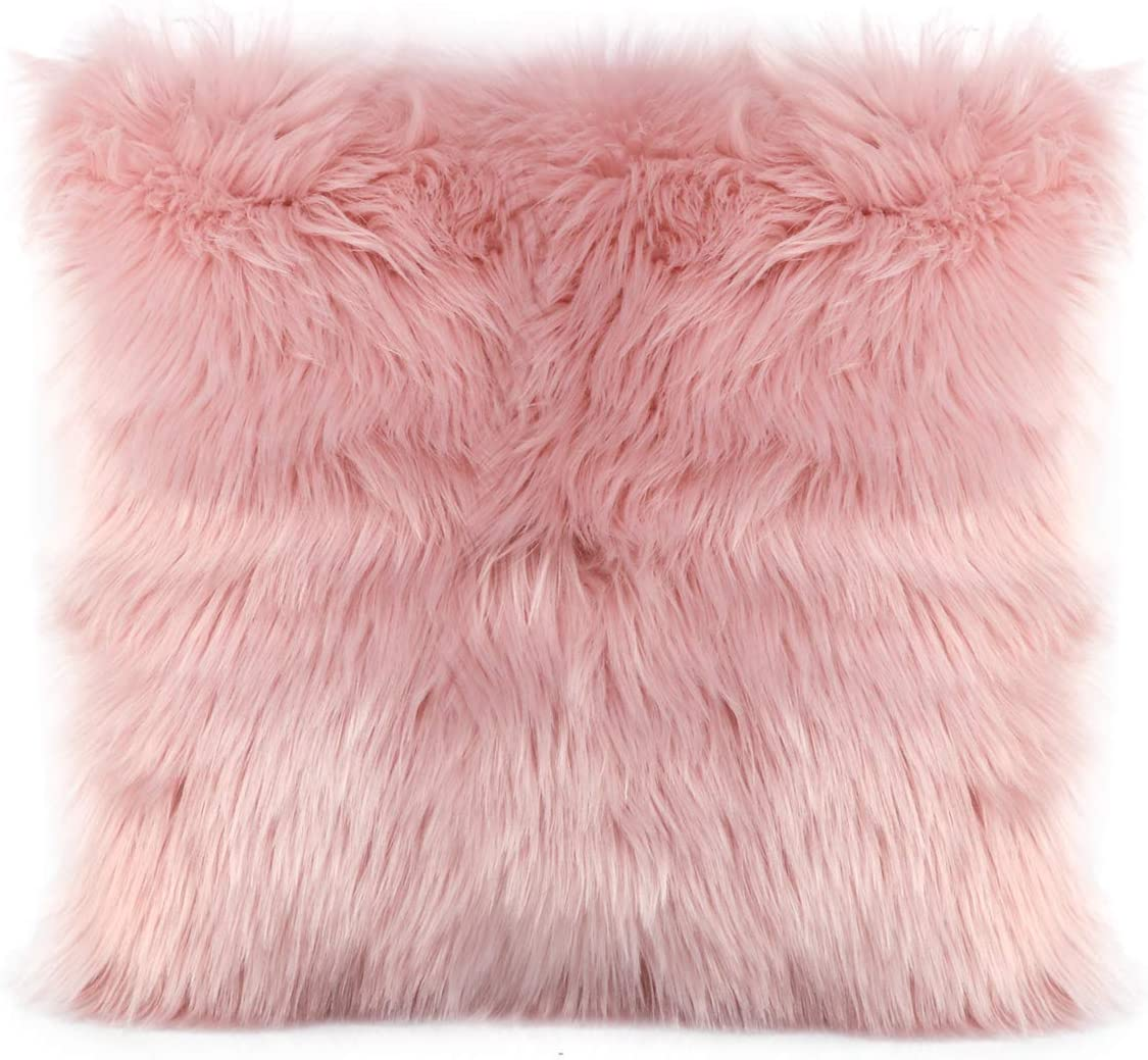 OJIA Faux Fur Throw Pillow Cover Cushion Case Super Soft Plush Accent Pillows Case Decorative New Luxury Series Style (18 x 18 Inch, Thick Pink)