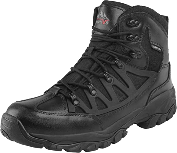 Close-up photo of a rugged-designed tactical boot, with lace closure, rough-design outsole.