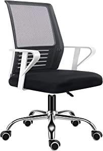 Shuanghu Office Chair,Lumbar Support Mesh Office Computer Swivel Desk Task Chair, Ergonomic Executive Chair with Armrests. (Steel Base, Black)