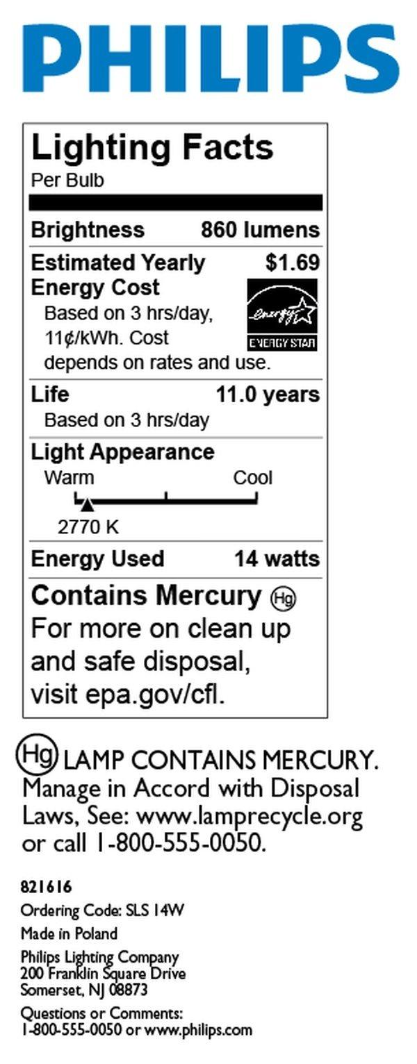 Philips 146910 60-watt Equivalent, 14-watt Soft White (2700K) SLS Universal CFL Light Bulb