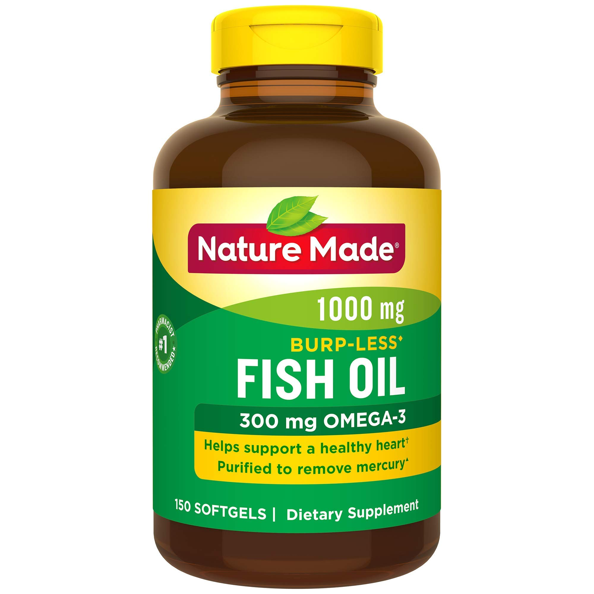 Nature Made Burp-Less Fish Oil 1000 mg Softgels, 150 Count for Heart Health† (Packaging May Vary) by Nature Made