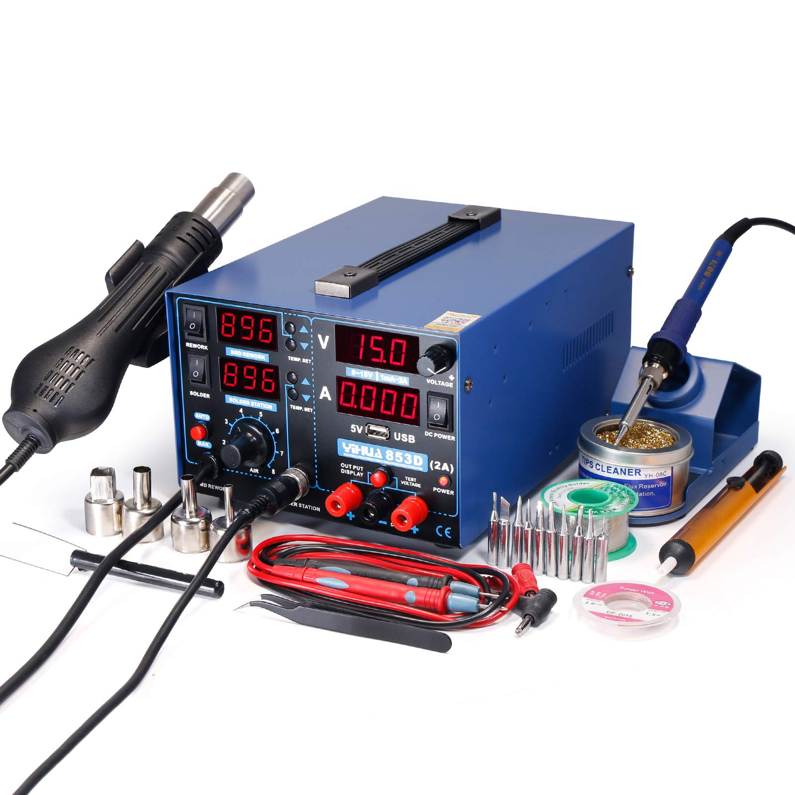 YIHUA 853D 2A USB SMD Hot Air Rework Soldering Iron Station, DC Power Supply 0-15V 0-2A with 5V USB Charging Port and 50 Volt DC Voltage Test Meter by YIHUA