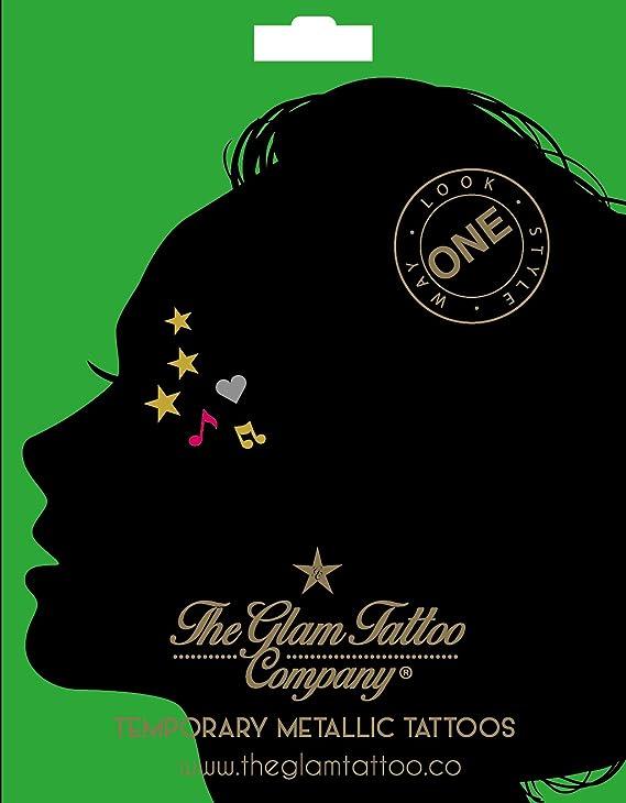 The Glam Tattoo Company - Tatuajes metálicos temporales, Color ...