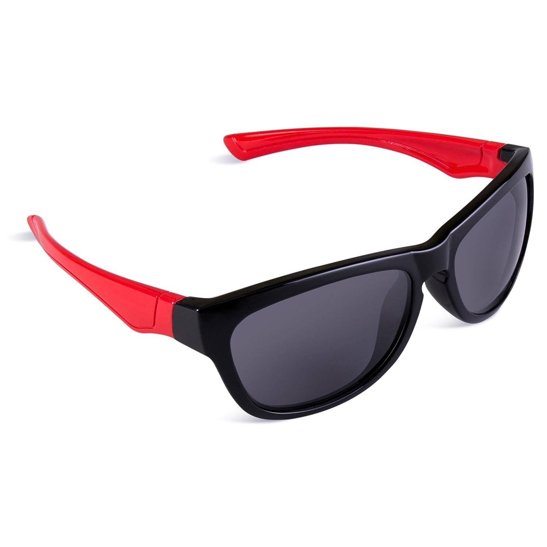 e505e0efa0e Amazon.com  RIVBOS Rubber Flexible Kids Polarized Sunglasses Glasses for  Baby and Children Age 3-10 (Mirrored Lens Available) RBK035(Black Red  Polarized ...