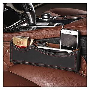High Class PU Leather Car Seat Gap Filler, Car Console Side Pocket Seat Catcher Organizer (Black Red)