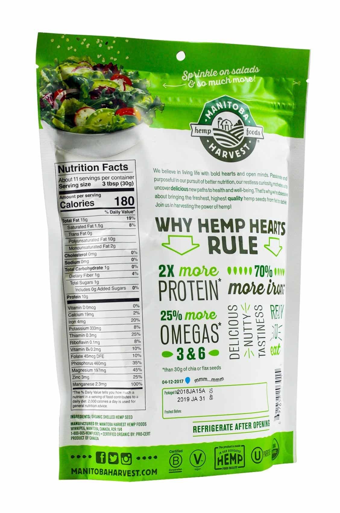 Manitoba Harvest Organic Hemp Hearts Raw Shelled Hemp Seeds, 12 Ounce (Pack of 2)