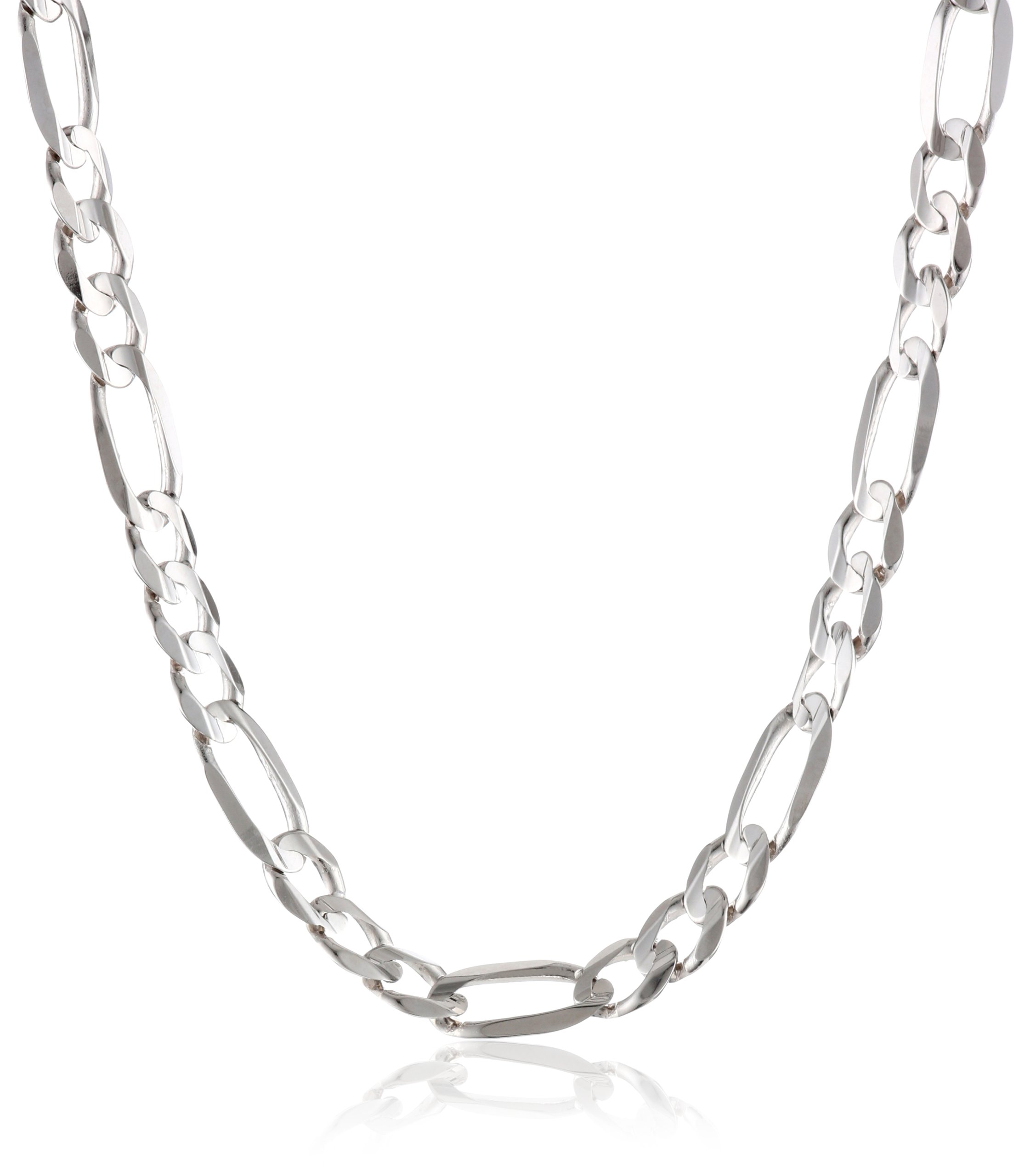 Men's 14k White Gold Figaro Chain Necklace, 26''