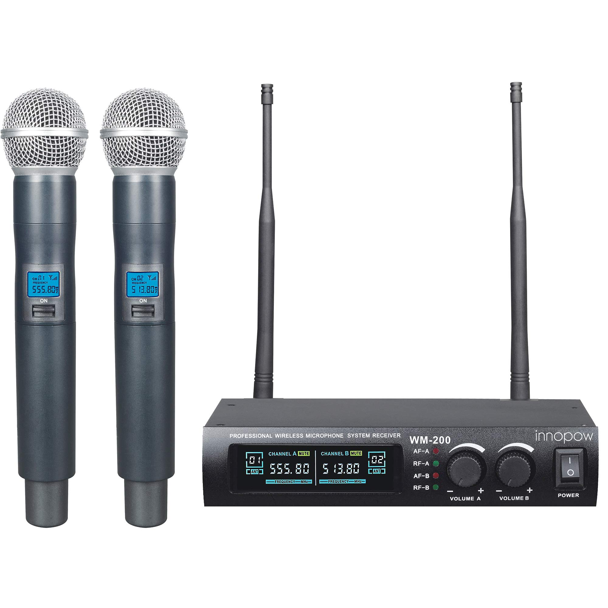 innopow Metal Dual UHF Wireless Microphone System,inp Metal Cordless Mic set, Long Distance 150-200Ft,16 Hours Continuous Use for Family Party,Church,Small karaoke Night (WM-200-New) by innopow