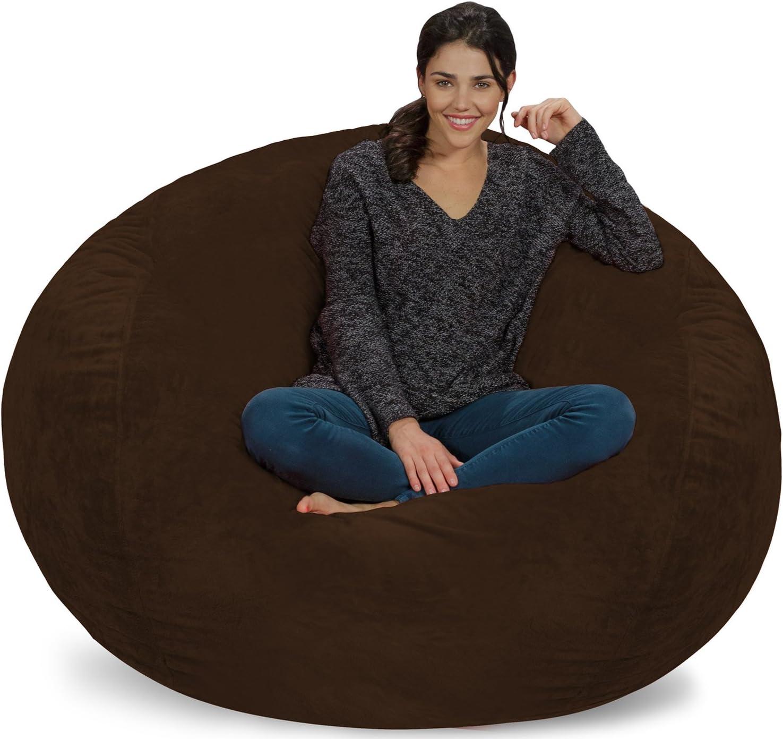 Chill Sack Bean Bag Chair: Giant 5' Memory Foam Furniture Bean Bag - Big Sofa with Soft Micro Fiber Cover - Brown Furry